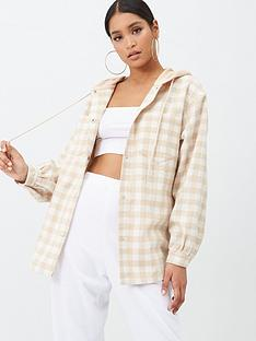 missguided-missguided-brushed-check-hooded-shacket-beige