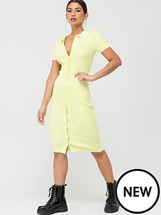 missguided-missguided-ribbed-collar-plunge-button-up-dress-yellow
