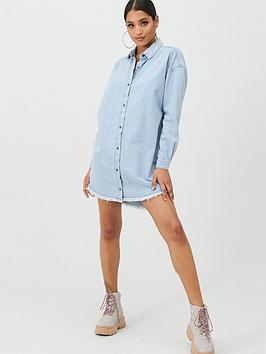 Missguided Missguided Missguided Oversized Stone Wash Denim Shirt Dress -  ... Picture