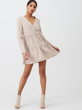 Missguided Missguided Nylon Button Through Smock Dress - Nude