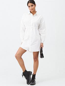 Missguided Missguided Missguided Poplin Gathered Waist Shirt Dress - White Picture