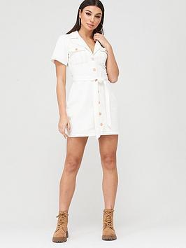 Missguided Missguided Missguided Contrast Stitch Self Belt Denim Dress -  ... Picture