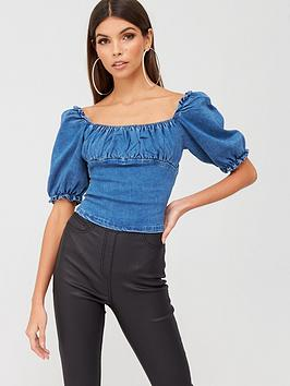missguided-missguided-zip-up-denim-milkmaid-top-blue