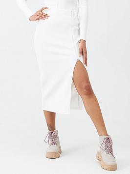 Missguided Missguided Missguided Ribbed Zip Midi Skirt - White Picture