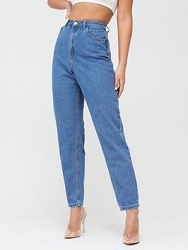 Missguided Missguided Missguided Riot High Waisted Plain Mom Jeans - Blue Picture