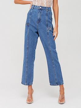 Missguided Missguided Missguided Panel Denim Jeans - Blue Picture