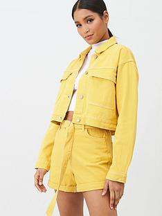 missguided-double-utility-pocket-detail-denim-jacket-co-ord--nbspmustard