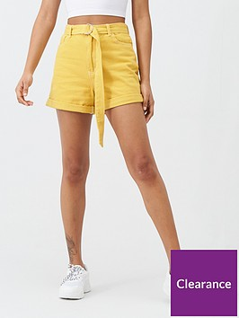 missguided-belted-denim-city-short-co-ord--nbspmustard