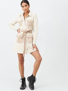 Missguided Missguided Missguided Contrast Pocket Belted Shirt Dress - Stone Picture