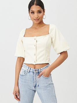 Missguided Missguided Missguided Square Neck Balloon Sleeve Button Up  ... Picture