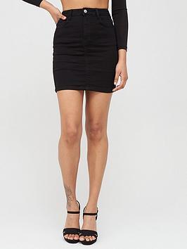 Missguided Missguided Missguided Denim Super Stretch Mini Skirt - Black Picture