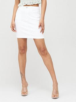Missguided Missguided Missguided Denim Super Stretch Mini Skirt - White Picture
