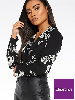 quiz-woven-floral-long-sleeve-lapel-bodysuit-black