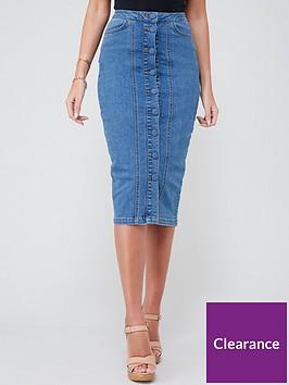 michelle-keegan-button-front-denim-pencil-skirt-mid-blue