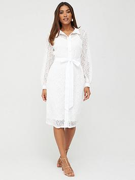 V by Very V By Very Lace Shirt Midi Dress - White Picture