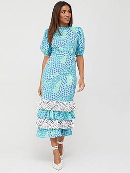 V by Very V By Very Tiered Mix Print Midaxi Dress - Floral Spot Picture