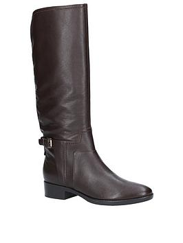 Geox D Felicity Leather Knee Boots - Coffee