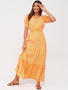 v-by-very-shirred-waist-tiered-maxi-dress-coral