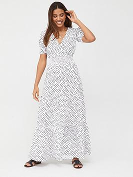 V by Very V By Very Shirred Waist Tiered Maxi Dress - Spot Picture