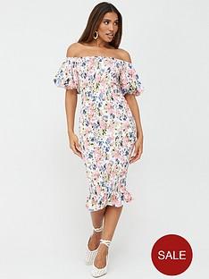 v-by-very-shirred-body-midi-dress-floral-print