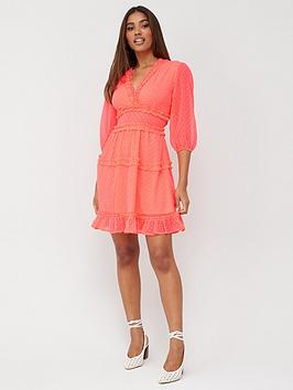 V by Very V By Very Dobby Spot Ruffle Mini Dress - Pink Picture
