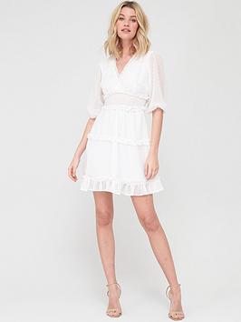 V by Very V By Very Dobby Spot Ruffle Mini Dress - White Picture