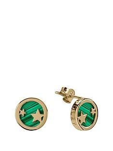 radley-radley-gold-tone-sterling-silver-star-green-enamel-disc-stud-ladies-earrings