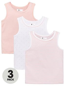 V by Very V By Very Girls 3 Pack Vests - Pink Picture