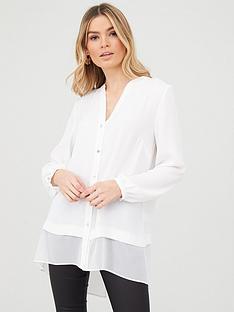 wallis-washed-chiffon-mix-longline-shirt-ivory