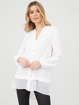 Wallis Wallis Washed Chiffon Mix Longline Shirt - Ivory Picture