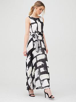 Wallis Wallis Smudge Colourblock Pleated Maxi Dress - Black Picture