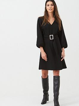 Wallis Wallis Crepe Buckle Belted Fit &Amp; Flare Dress - Black Picture