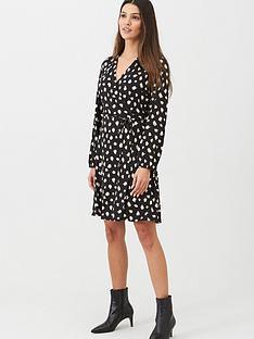 wallis-stroke-spot-wrap-dress-black