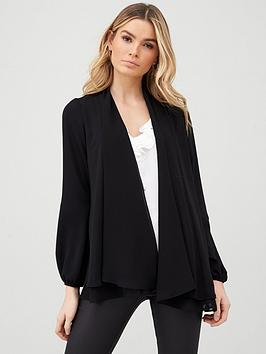 Wallis Wallis Blouson Sleeve Chiffon Jacket - Black Picture