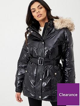river-island-wet-look-faux-fur-hood-padded-coat-black