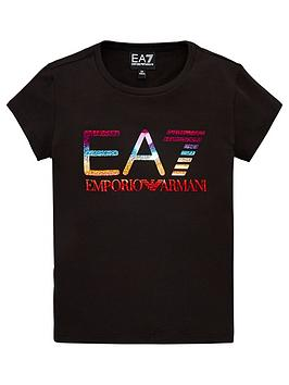 EA7 Emporio Armani Ea7 Emporio Armani Girls Short Sleeve Metallic Logo  ... Picture