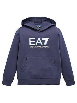 EA7 Emporio Armani Ea7 Emporio Armani Boys High Visibility Hoodie - Navy Picture