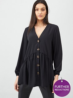 v-by-very-longline-button-through-blouse-black