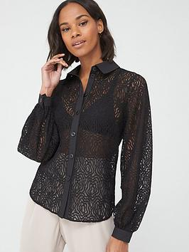 V by Very V By Very Button Through Lace Shirt - Black Picture