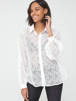 V by Very V By Very Button Through Lace Shirt - White Picture