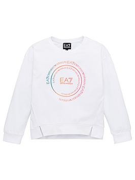 EA7 Emporio Armani Ea7 Emporio Armani Girls Rainbow Logo Crew Sweat - White Picture