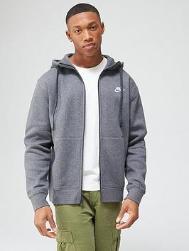 Nike Nike Sportswear Club Full Zip Hoodie - Charcoal Heather Picture