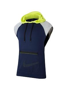 nike-dri-fit-mens-sleeveless-fleece-training-hoodie-navy