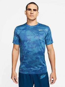 Nike Nike Dry All Over Print Camo T-Shirt - Blue Picture