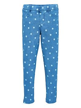 V by Very V By Very Girls Polka Dot Jersey Jegging - Blue Picture