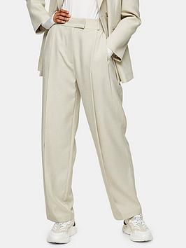 Topshop Topshop Slouch Suit Trousers - Cream Picture