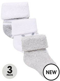 v-by-very-baby-unisex-3-pack-little-spot-stripe-and-plain-terry-socks-grey