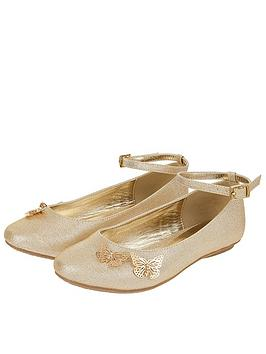 Monsoon Monsoon Girls Simone Butterfly Shimmer Ballerina - Gold Picture