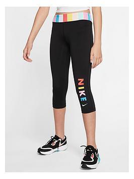 Nike Nike Girls One Leggings - Black/White Picture