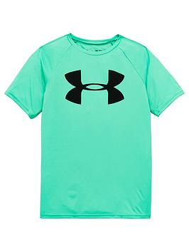 under-armour-childrensnbsptech-big-logo-t-shirt-and-prototype-wordmark-short-set-green-grey